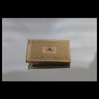 14k - Vintage Masonic Freemason Belt Buckle in Yellow Gold