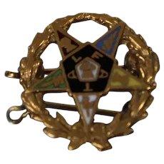 14k - Vintage Eastern Star Multi Colored Enamel Pin/ Brooch in Yellow Gold