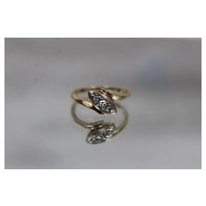 14k - .09 CTW - Two Tone Art Deco Diamond Bypass Ring in Yellow & White Gold