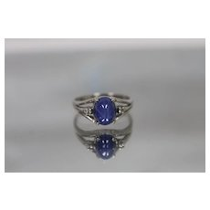 10k - Art Deco Oval Cabochon Cut Star Sapphire & Diamond Ring in White Gold