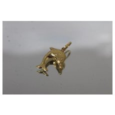 18k - Reversible 2 Way Dolphin Pendant Charm with Frosted & Glossy Finish in Bright Yellow Gold