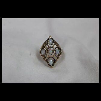 14k - Vintage Opal Cluster Brutalist Mount w/ Patina in Yellow Gold