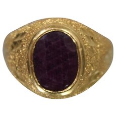 22k 22ct - Vintage Ruby Diamond Cut Frosted Ring in Bright Yellow Gold