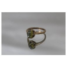 10k - Green Stone with Star Pattern in Art Deco Style Ring in Yellow Gold