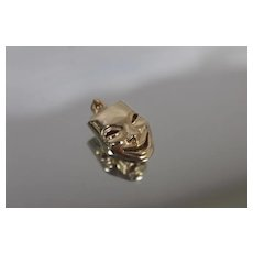 14k - Reversible 3D Greek Muses Comedy & Tragedy Mask Faces Pendant Charm in Yellow Gold