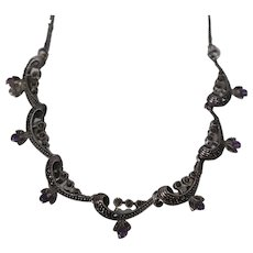 """925 - 19"""" Marcasite Curb link with Fancy Ornamental Design in Center with Purple Beads in Sterling Silver"""