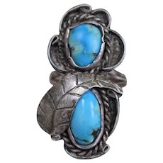 925 - Vintage Southwest Native American Double Turquoise Long Ring in Sterling Silver
