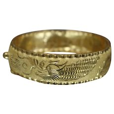 22KT - Bright Asian Motif Dragon Phoenix Bird Rooster Bangle Cuff Bracelet in Yellow Gold