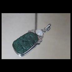 Sajen 925 Vintage Carved Jade Dragon Pendant w/ Mother of Pearl Sterling Silver