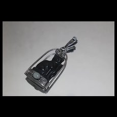 Sajen 925 - Large Black Onyx Carved Cat Pendant Aquamarine in Sterling Silver