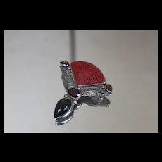 Sajen 925 Cinnabar Garnet Carnelian Pendant/ Brooch in Sterling Silver