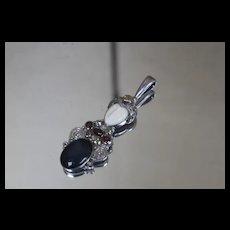 Sajen 925 Goddess Face Garnet Black Onyx Pendant in Sterling Silver