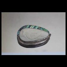 Sajen 925 - Large Goddess Pin/ Brooch Pendant w/ Abalone Sterling Silver READ!!!