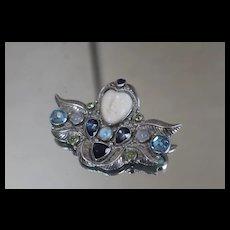 Sajen 925 Goddess Face Topaz Tanzanite Peridot Pendant/ Brooch Sterling Silver