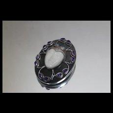 Sajen 925 - Goddess Carved Face Amethyst Topaz Pendant Pin Sterling Silver