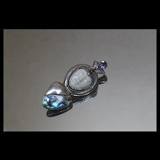 Sajen 925 Goddess Face Amethyst Peridot Abalone Pendant/ Brooch Sterling Silver