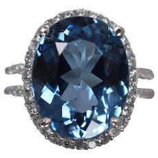 18k - 12.43 CTW - Massive Blue Topaz and Diamond Split Shank Ring in White Gold