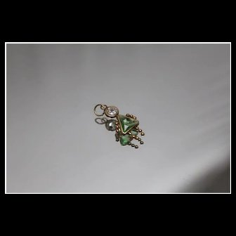 10k - Peridot & Cubic Zirconia Newborn Girl / Daughter Charm in Yellow Gold