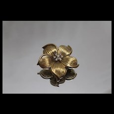 14k - .15 ct - Diamond Grooved Petal 3D Puff Flower Pendant Pin Brooch in Yellow Gold with Patina