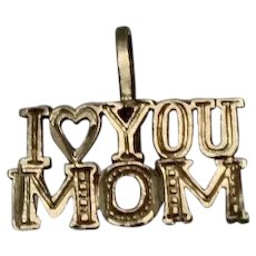 14k - Diamond Cut Word Pendant Charm - I Love You Mom in Yellow Gold