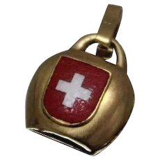 18k - First Aid Enameled Pendant Charm in Yellow Gold