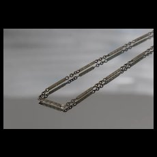 """14k - 13"""" - Deco Style Pocket Watch Chain Converted Bracelet / Anklet / Necklace in White Gold"""