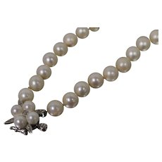 14k - .05 ct - 7.2mm - Strand of Pearls with Hand Made Ornate Clasp in White Gold