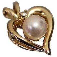 14k - Dainty & Cute Diamond Accented Pearl Open Heart Pendant Charm in Yellow Gold