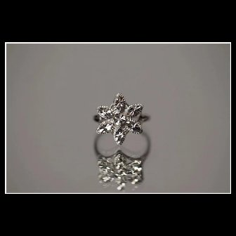 14k - Diamond Cut Flower Snowflake Winter is Coming Marquise Design in White Gold