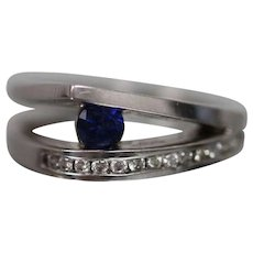 14k - .50 CTW - Modernist Sapphire & Diamond Split Shank Ring with Fancy Mount in White Gold
