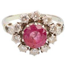 Diamond ruby ring white gold
