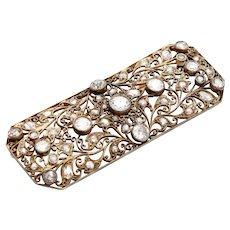 SALE Platinum on Gold 4 CT old cut diamond brooch pin