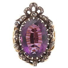 Amethyst seed pearl diamond ring gold silver