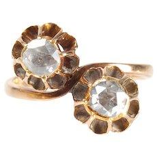 Moi et Toi ring rose cut diamond 14k rose gold