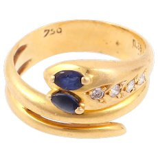Snake ring 18k gold sapphire and diamonds