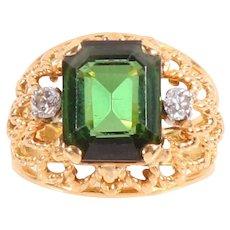 18k Gold green turmaline diamond ring