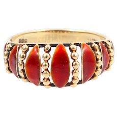 Enamel gold ring 14k
