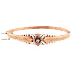 rose cut diamond bangle bracelet 14K Rose gold