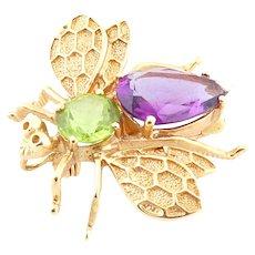 18k Yellow gold bee brooch pin amethyst period