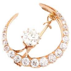 Antique diamond brooch pin pendant 14k gold