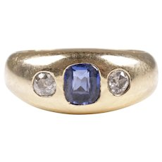 Art Nouveau old cut diamond sapphire ring