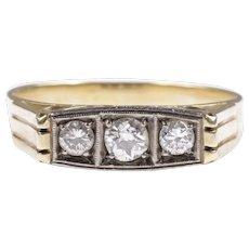 Art Deco old cut diamond ring 14k gold