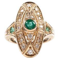Emerald diamond ring 14k gold