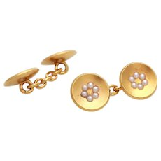 14k yellow gold seed pearl antique Cufflinks