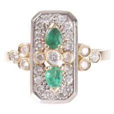 14k Gold ring diamond emerald