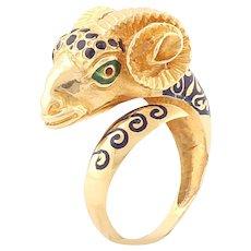 SALE Rare aries ring yellow gold enamel