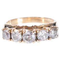 14k Gold 1.2ct five diamonds ring