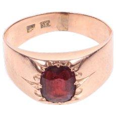 Art Deco 14k Rose gold bohemian garnet ring