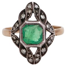 Emerald ring gold silver