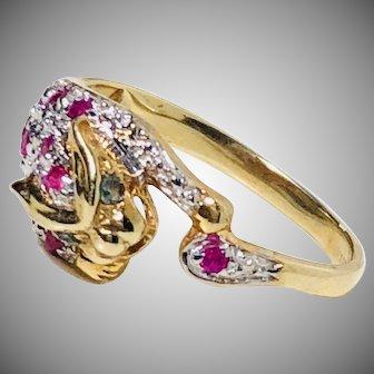 Vintage ruby turmaline panther ring Gold